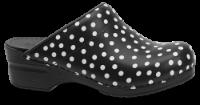 Sanita Dametræsko sort/hvid prik 57048