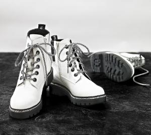 B&CO kort damestøvlett hvid