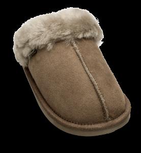 Woollies dame tøfler gråbrun 1009 Slip Luxe